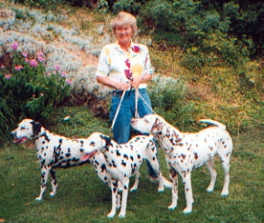 Kirsti and her dogs(Lulle, Wilma, Bellman)